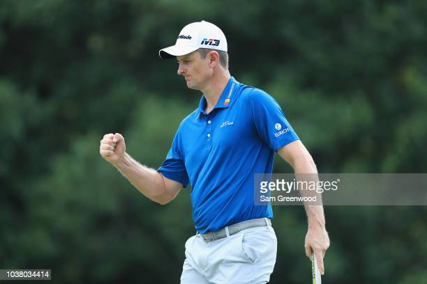 Justin Rose of England reacts on the seventh green during the third round of the TOUR Championship at East Lake Golf Club on September 22 2018 in...