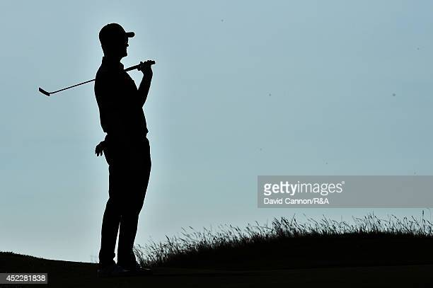 Justin Rose of England reacts to a missed putt for birdie on the 13th hole during the first round of The 143rd Open Championship at Royal Liverpool...