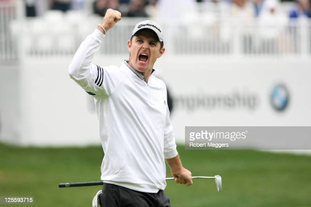 Justin Rose of England reacts to a put on the 18th hole during the final round of the BMW Championship at Cog Hill Golf Country Club on September 18...