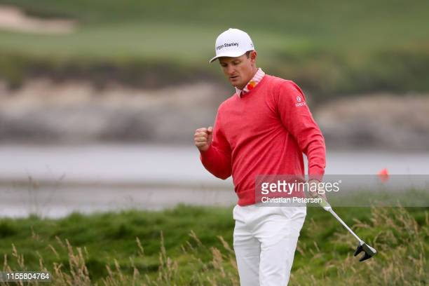 Justin Rose of England reacts to a shot on the 17th green during the first round of the 2019 U.S. Open at Pebble Beach Golf Links on June 13, 2019 in...