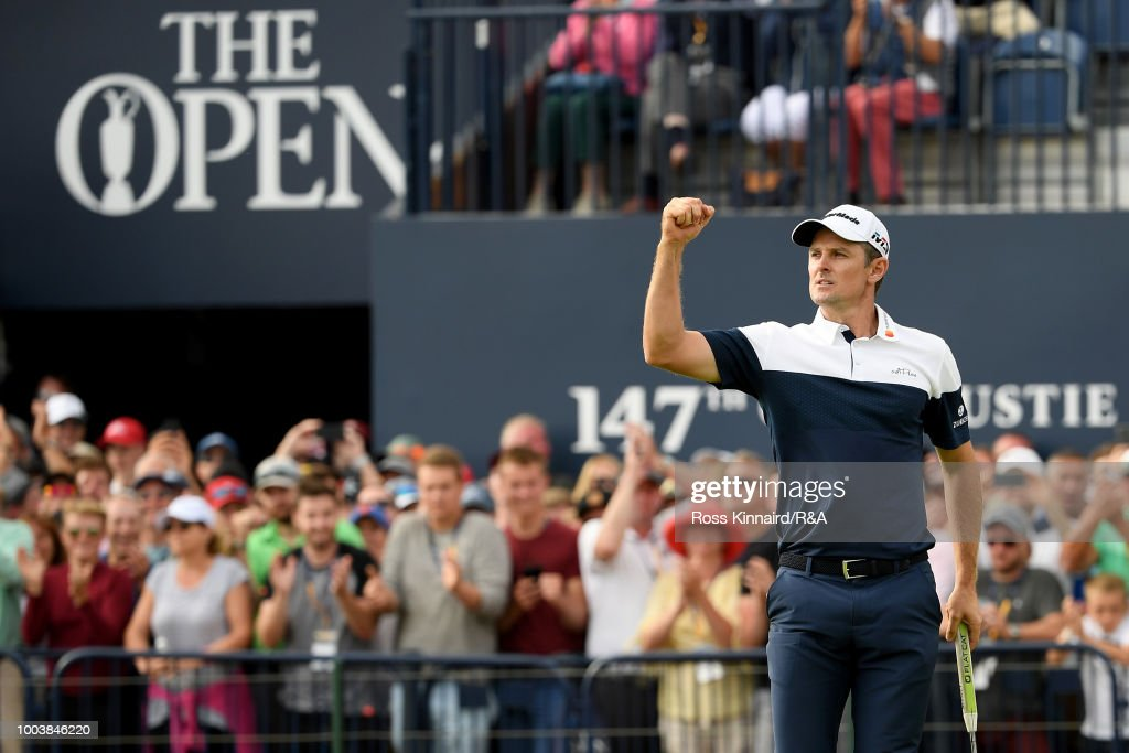 Justin Rose of England reacts to his birdie on the 18th hole during the final round of the Open Championship at Carnoustie Golf Club on July 22, 2018 in Carnoustie, Scotland.