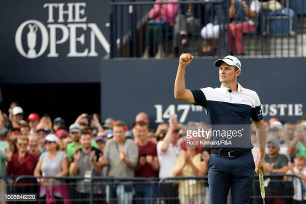 Justin Rose of England reacts to his birdie on the 18th hole during the final round of the Open Championship at Carnoustie Golf Club on July 22, 2018...