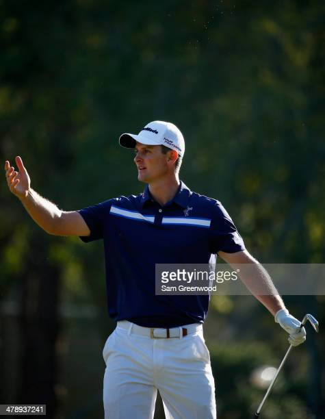 Justin Rose of England reacts to his tee shot on the 17th hole during the third round of the Valspar Championship at Innisbrook Resort and Golf Club...