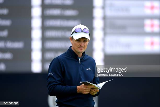 Justin Rose of England seen while on a practice round during previews to the 147th Open Championship at Carnoustie Golf Club on July 18 2018 in...