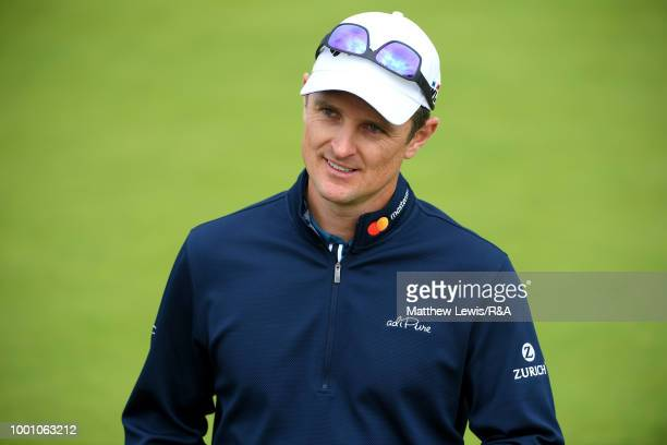 Justin Rose of England seen while playing in a practice round during previews to the 147th Open Championship at Carnoustie Golf Club on July 18 2018...