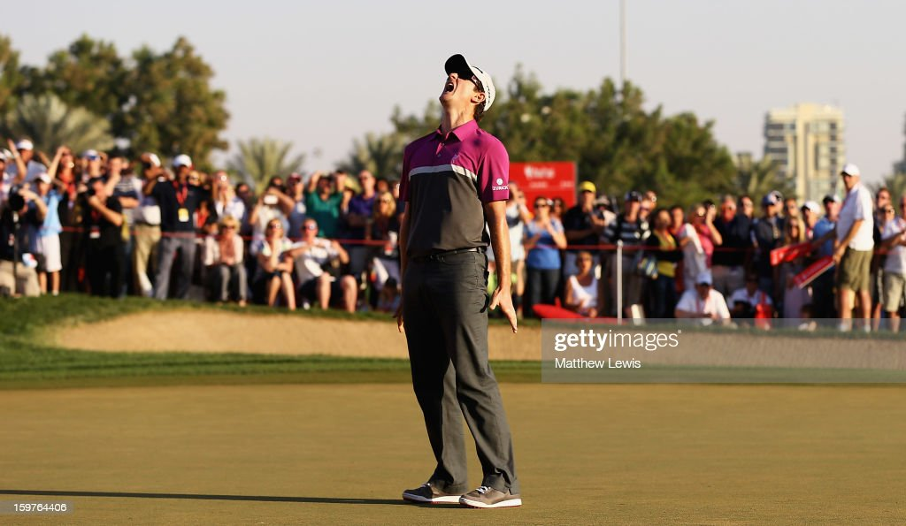 Justin Rose of England shows his frustration, after missing a putt on the 18th green to go to a play-off during day four of the Abu Dhabi HSBC Golf Championship at Abu Dhabi Golf Club on January 20, 2013 in Abu Dhabi, United Arab Emirates.
