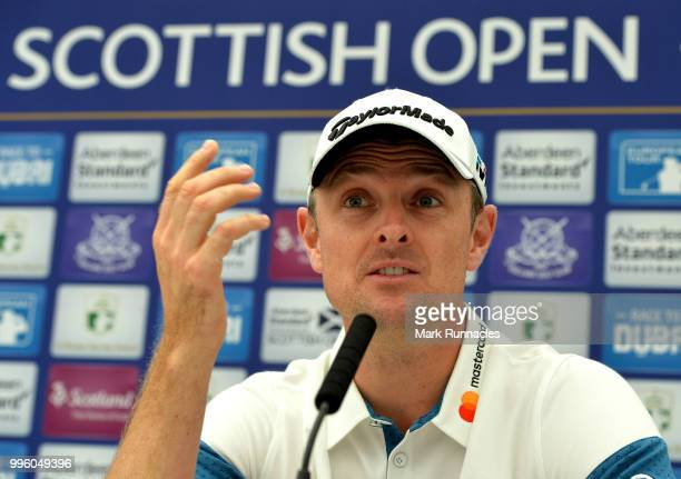 Justin Rose of England speaks to the media during previews for the Aberdeen Standard Investments Scottish Open at Gullane Golf Course on July 11 2017...