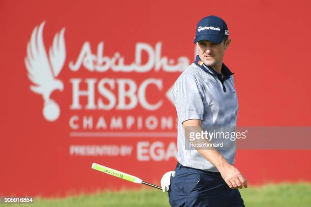 Justin Rose of England stands on the 18th hole during the proam prior to the Abu Dhabi HSBC Golf Championship at Abu Dhabi Golf Club on January 17...