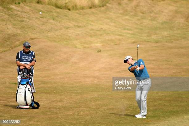 Justin Rose of England takes his second shot on hole one during day four of the Aberdeen Standard Investments Scottish Open at Gullane Golf Course on...