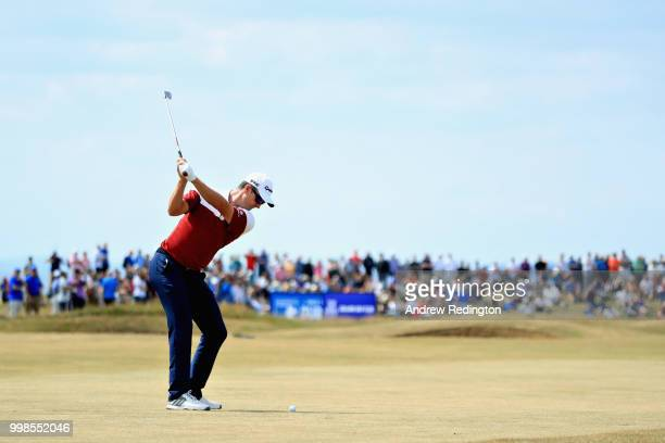 Justin Rose of England takes his second shot on hole two during day three of the Aberdeen Standard Investments Scottish Open at Gullane Golf Course...
