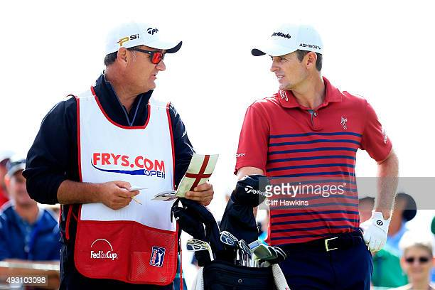 Justin Rose of England talks to his caddie Mark Fulcher on the second tee during the third round of the Fryscom Open on October 17 2015 at the North...