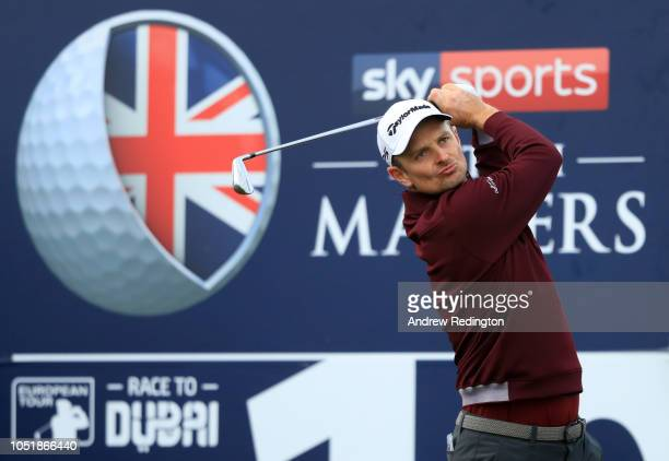 Justin Rose of England tees off on the 10th hole during Day One of Sky Sports British Masters at Walton Heath Golf Club on October 11 2018 in...