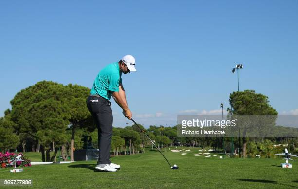 Justin Rose of England tees off on the 16th hole during the second round of the Turkish Airlines Open at the Regnum Carya Golf Spa Resort on November...