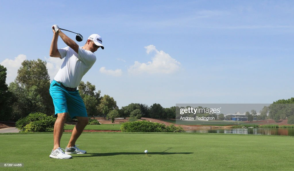 Justin Rose of England tees off on the 18th hole during the Pro-Am prior to the DP World Tour Championship at Jumeirah Golf Estates on November 14, 2017 in Dubai, United Arab Emirates.