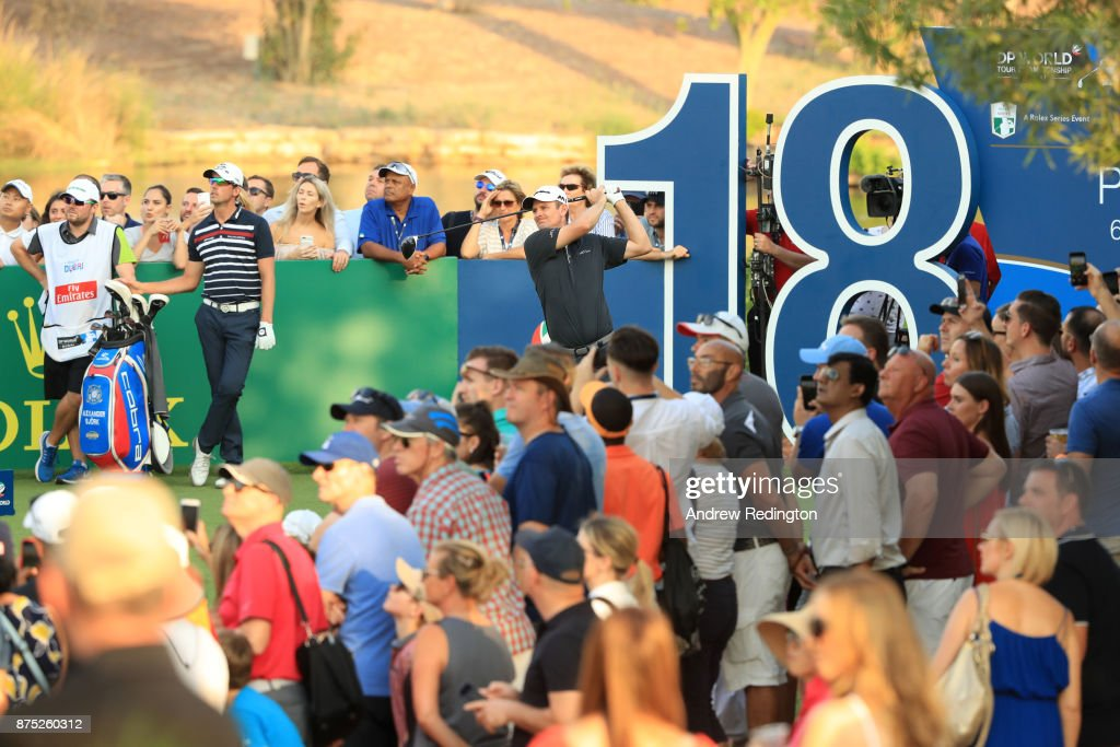 Justin Rose of England tees off on the 18th hole during the second round of the DP World Tour Championship at Jumeirah Golf Estates on November 17, 2017 in Dubai, United Arab Emirates.