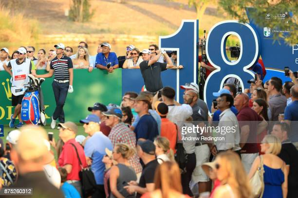 Justin Rose of England tees off on the 18th hole during the second round of the DP World Tour Championship at Jumeirah Golf Estates on November 17...