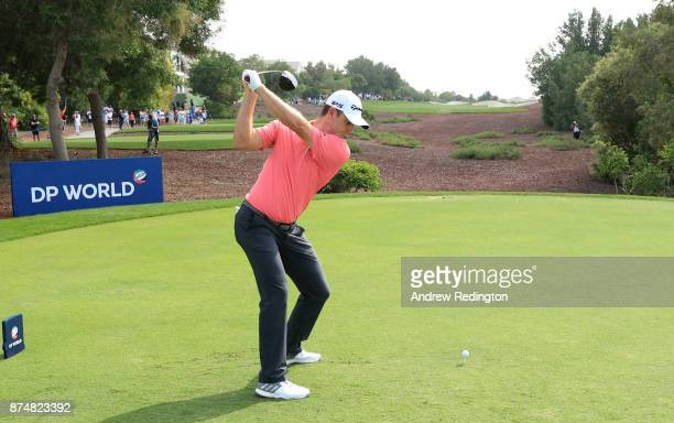 Justin Rose of England tees off on the 2nd hole during the first round of the DP World Tour Championship at Jumeirah Golf Estates on November 16 2017...
