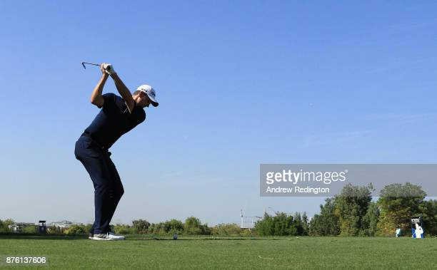 Justin Rose of England tees off on the 4th hole during the final round of the DP World Tour Championship at Jumeirah Golf Estates on November 19 2017...