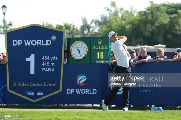 Justin Rose of England tees off on the first during Day Four of the DP World Tour Championship Dubai at Jumerirah Golf Estates on November 24, 2019...