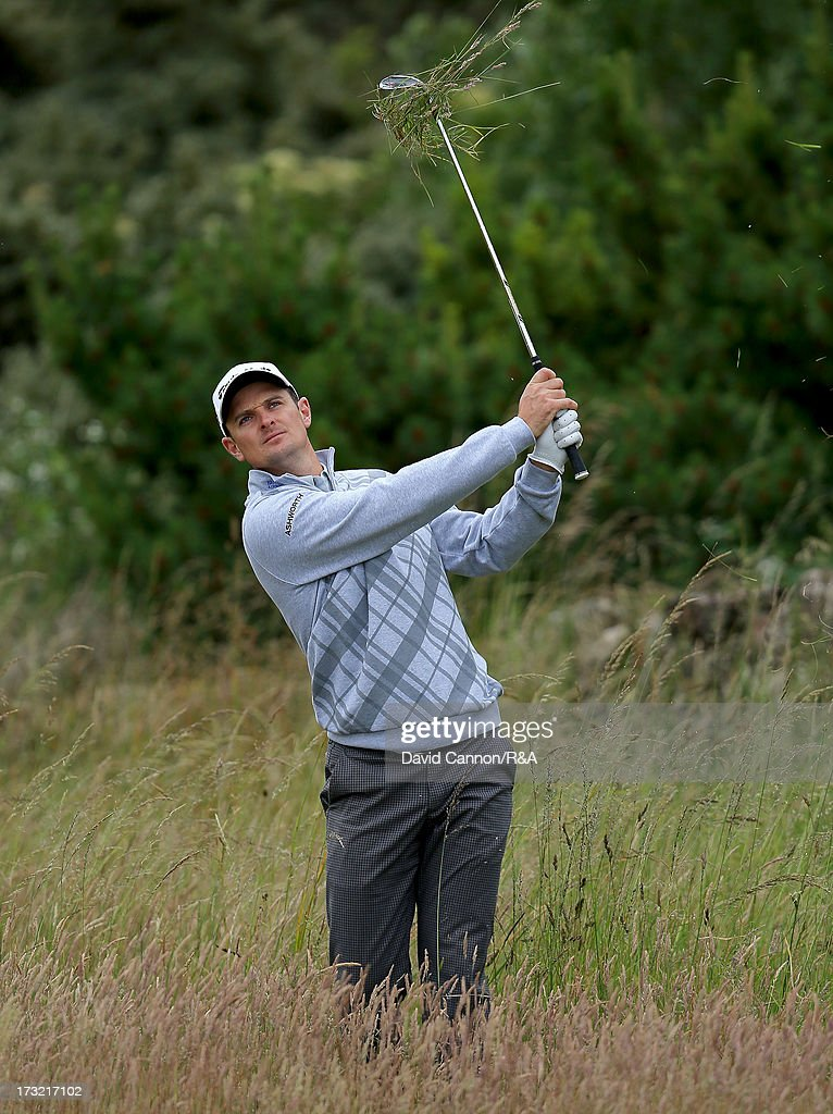 Justin Rose of England the 2013 US Open Champion getting a taste of the deep rough that awaits the players during a practice round as a preview for the 2013 Open Championship at Muirfield on July 10, 2013 in Gullane, Scotland.