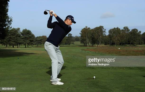 Justin Rose of England visits the host course of the 2018 British Masters supported by Sky Sports at Walton Heath Golf Club on October 12 2017 in...
