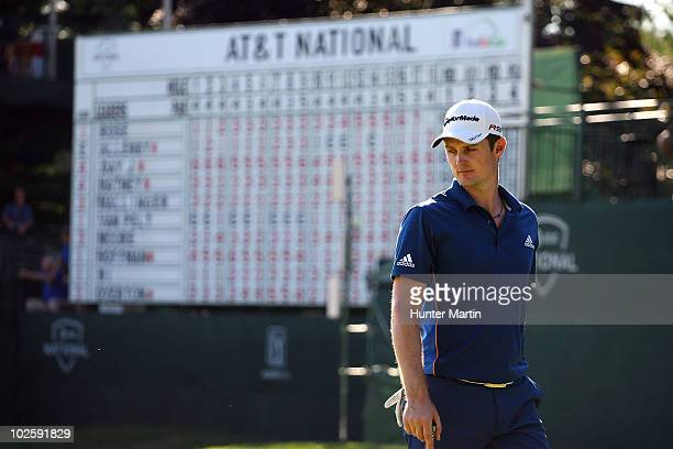Justin Rose of England walks on the 18th green during the second round of the AT&T National at Aronimink Golf Club on July 2, 2010 in Newtown Square,...