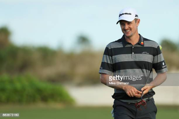 Justin Rose of England walks on the 18th hole during the second round of the Hero World Challenge at Albany Bahamas on December 1 2017 in Nassau...