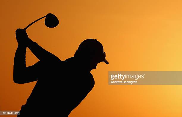 Justin Rose of England warms up on the driving range prior to teeing off in the second round of the Abu Dhabi HSBC Golf Championship at the Abu Dhabi...