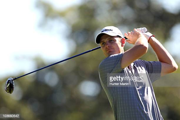 Justin Rose of England watches his tee shot on the 16th hole during the second round of The Barclays at the Ridgewood Country Club on August 27 2010...