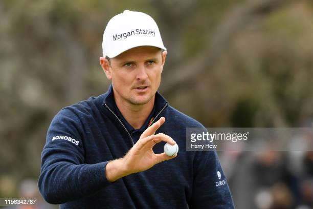 Justin Rose of England waves after a birdie on the first green during the final round of the 2019 U.S. Open at Pebble Beach Golf Links on June 16,...