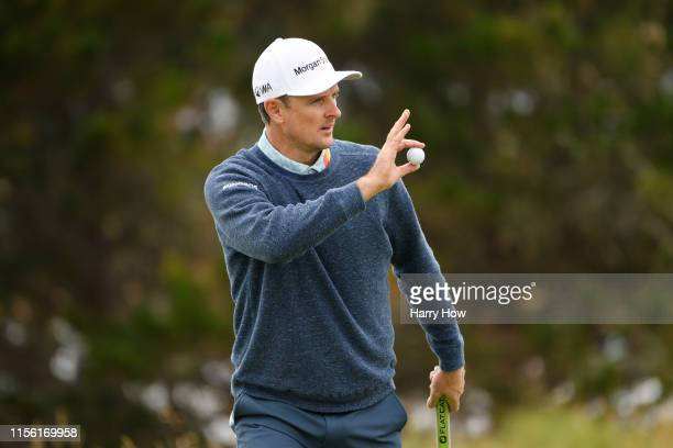 Justin Rose of England waves on the fourth green during the third round of the 2019 U.S. Open at Pebble Beach Golf Links on June 15, 2019 in Pebble...