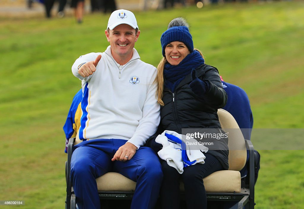 Justin Rose of Europe and wife Kate Rose give the thumbs up after his match was halved during the Afternoon Foursomes of the 2014 Ryder Cup on the PGA Centenary course at the Gleneagles Hotel on September 27, 2014 in Auchterarder, Scotland.