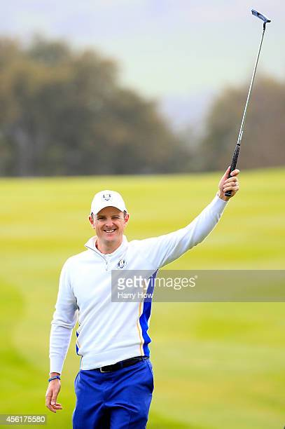 Justin Rose of Europe celebrates his birdie on the 5th hole during the Morning Fourballs of the 2014 Ryder Cup on the PGA Centenary course at the...