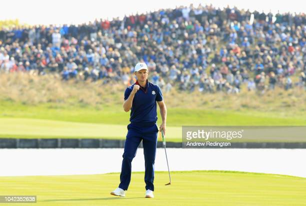 Justin Rose of Europe celebrates on the 15th during the morning fourball matches of the 2018 Ryder Cup at Le Golf National on September 28, 2018 in...