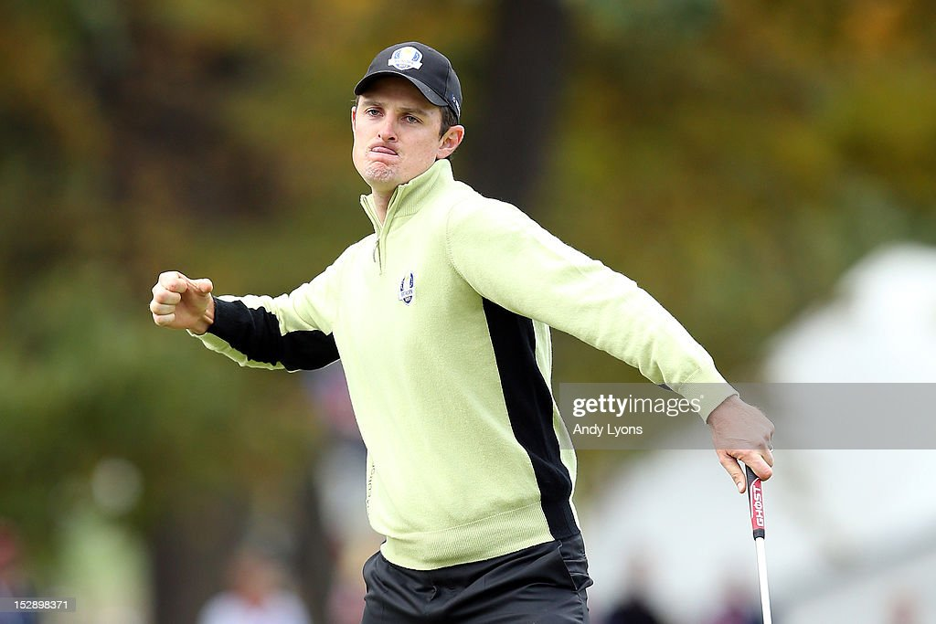 Justin Rose of Europe celebrates on the fourth hole after a long putt for birdie during the Morning Foursome Matches for The 39th Ryder Cup at Medinah Country Club on September 28, 2012 in Medinah, Illinois.