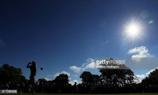 Justin Rose of Europe hits off a tee during practice prior to the 2016 Ryder Cup at Hazeltine National Golf Club on September 29, 2016 in Chaska,...