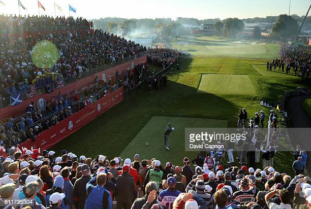 Justin Rose of Europe hits off the first tee during morning foursome matches of the 2016 Ryder Cup at Hazeltine National Golf Club on October 1 2016...