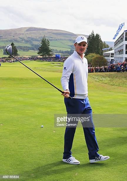 Justin Rose of Europe looks on from the 1st tee during the Afternoon Foursomes of the 2014 Ryder Cup on the PGA Centenary course at the Gleneagles...