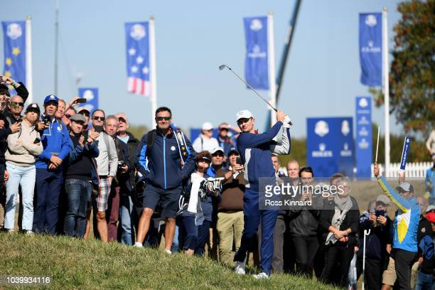 Justin Rose of Europe plays his second shot on the 17th hole during practice ahead of the 2018 Ryder Cup at Le Golf National on September 25 2018 in...