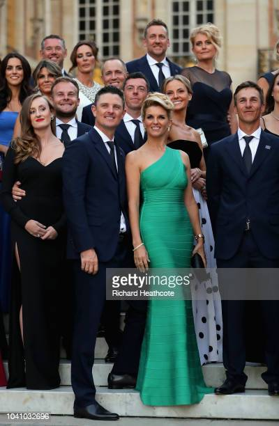 Justin Rose of Europe poses with his wife Kate Rose before the Ryder Cup gala dinner at the Palace of Versailles ahead of the 2018 Ryder Cup on...