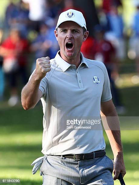 Justin Rose of Europe reacts after a putt on the 13th green during afternoon fourball matches of the 2016 Ryder Cup at Hazeltine National Golf Club...