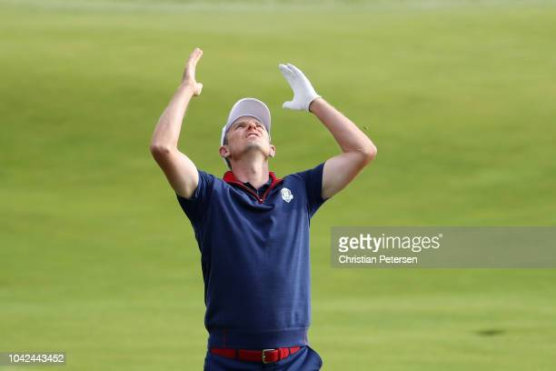 Justin Rose of Europe reacts during the afternoon foursome matches of the 2018 Ryder Cup at Le Golf National on September 28 2018 in Paris France