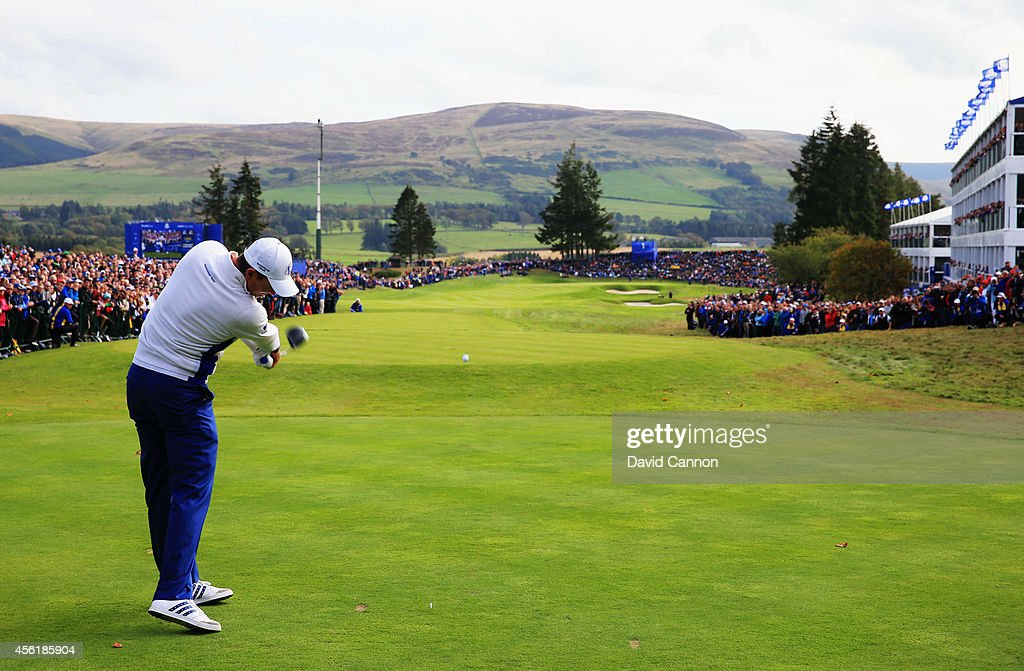 Justin Rose of Europe tees off from the 1st hole during the Afternoon Foursomes of the 2014 Ryder Cup on the PGA Centenary course at the Gleneagles Hotel on September 27, 2014 in Auchterarder, Scotland.