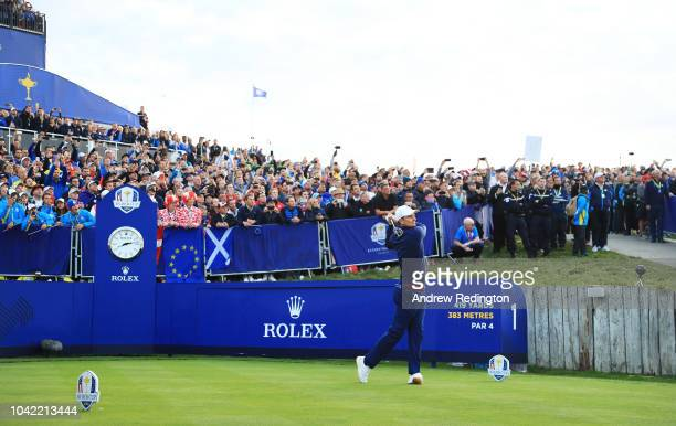 Justin Rose of Europe tees off on the 1st during the morning fourball matches of the 2018 Ryder Cup at Le Golf National on September 28, 2018 in...