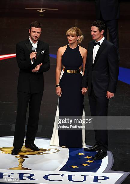 Justin Rose of Europe with his wife Kate Rose talk with Justin Timberlake at the 39th Ryder Cup Gala at Akoo Theatre at Rosemont on September 26 2012...