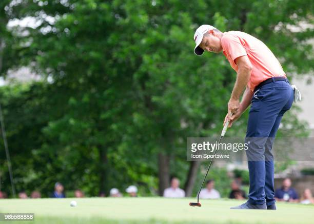 Justin Rose putts during the second round of the Memorial Tournament at Muirfield Village Golf Club in Dublin Ohio on June 01 2018