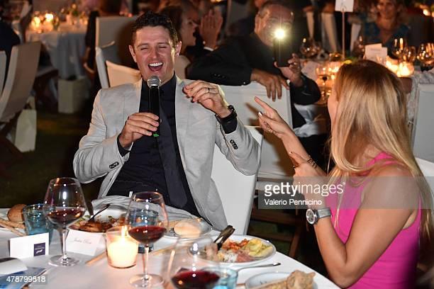 Justin Rose sings during the Gala Dinner following The Costa Smeralda Invitational Golf Tournament at Pevero Golf Club, Costa Smeralda on June 27,...
