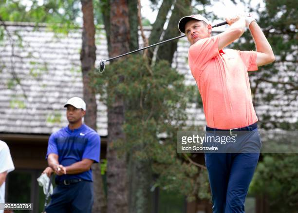 Justin Rose tees off during the second round of the Memorial Tournament at Muirfield Village Golf Club in Dublin Ohio on June 01 2018