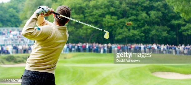 Justin Rose tees off on the 2nd hole during the Golf Voilvo PGA champioship at Wentworth GC in England 28th May 2004.