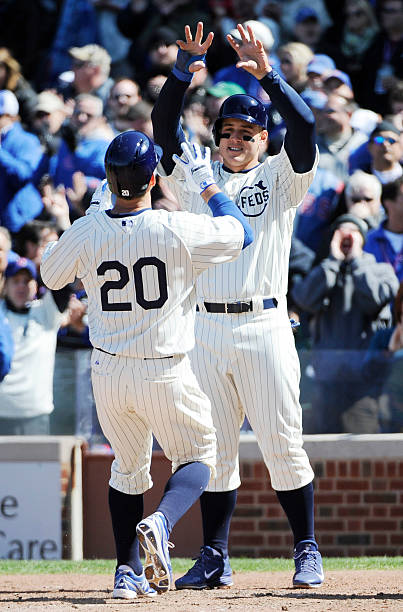 J. Ruggiano and A. Rizzo of the Chicago Cubs